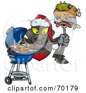Royalty Free RF Clipart Illustration Of A Grilling Spider Wearing A Santa Hat And Holding Food On A BBQ Fork