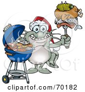 Royalty Free RF Clipart Illustration Of A Grilling Catfish Wearing A Santa Hat And Holding Food On A BBQ Fork