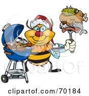 Royalty Free RF Clipart Illustration Of A Grilling Bumble Bee Wearing A Santa Hat And Holding Food On A BBQ Fork by Dennis Holmes Designs