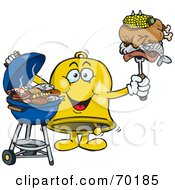 Royalty Free RF Clipart Illustration Of A Grilling Jingle Bell Holding Food On A BBQ Fork