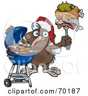 Royalty Free RF Clipart Illustration Of A Grilling Kiwi Bird Wearing A Santa Hat And Holding Food On A BBQ Fork
