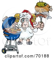 Royalty Free RF Clipart Illustration Of A Grilling Ram Wearing A Santa Hat And Holding Food On A BBQ Fork by Dennis Holmes Designs