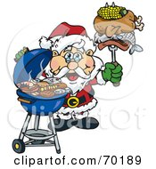 Royalty Free RF Clipart Illustration Of A Grilling Santa Wearing A Santa Hat And Holding Food On A BBQ Fork by Dennis Holmes Designs
