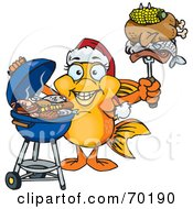 Royalty Free RF Clipart Illustration Of A Grilling Female Goldfish Wearing A Santa Hat And Holding Food On A BBQ Fork
