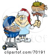 Royalty Free RF Clipart Illustration Of A Grilling Man Wearing A Santa Hat And Holding Food On A BBQ Fork Version 2