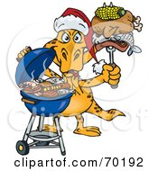 Royalty Free RF Clipart Illustration Of A Grilling Goanna Lizard Wearing A Santa Hat And Holding Food On A BBQ Fork by Dennis Holmes Designs