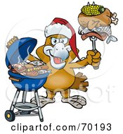 Royalty Free RF Clipart Illustration Of A Grilling Eagle Wearing A Santa Hat And Holding Food On A BBQ Fork