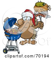 Royalty Free RF Clipart Illustration Of A Grilling Echidna Wearing A Santa Hat And Holding Food On A BBQ Fork