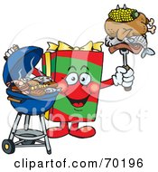 Royalty Free RF Clipart Illustration Of A Grilling Christmas Present Holding Food On A BBQ Fork
