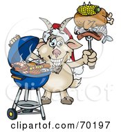 Royalty Free RF Clipart Illustration Of A Grilling Goat Wearing A Santa Hat And Holding Food On A BBQ Fork
