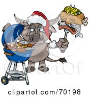Royalty Free RF Clipart Illustration Of A Grilling Water Buffalo Wearing A Santa Hat And Holding Food On A BBQ Fork by Dennis Holmes Designs