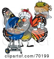 Royalty Free RF Clipart Illustration Of A Grilling Monarch Butterfly Wearing A Santa Hat And Holding Food On A BBQ Fork
