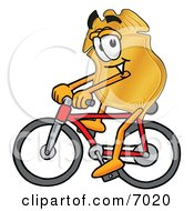 Clipart Picture Of A Badge Mascot Cartoon Character Riding A Bicycle by Toons4Biz