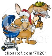 Royalty Free RF Clipart Illustration Of A Grilling Bilby Wearing A Santa Hat And Holding Food On A BBQ Fork
