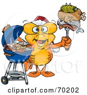 Royalty Free RF Clipart Illustration Of A Grilling Goldfish Wearing A Santa Hat And Holding Food On A BBQ Fork