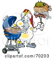 Royalty Free RF Clipart Illustration Of A Grilling Cockatoo Wearing A Santa Hat And Holding Food On A BBQ Fork