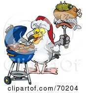 Royalty Free RF Clipart Illustration Of A Grilling Seagull Wearing A Santa Hat And Holding Food On A BBQ Fork