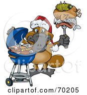 Royalty Free RF Clipart Illustration Of A Grilling Platypus Wearing A Santa Hat And Holding Food On A BBQ Fork