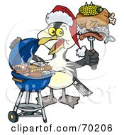 Royalty Free RF Clipart Illustration Of A Grilling Shag Bird Wearing A Santa Hat And Holding Food On A BBQ Fork