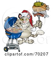 Royalty Free RF Clipart Illustration Of A Grilling Cat Wearing A Santa Hat And Holding Food On A BBQ Fork