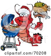 Royalty Free RF Clipart Illustration Of A Grilling Lobster Wearing A Santa Hat And Holding Food On A BBQ Fork by Dennis Holmes Designs