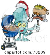 Royalty Free RF Clipart Illustration Of A Grilling Squid Wearing A Santa Hat And Holding Food On A BBQ Fork