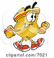 Clipart Picture Of A Badge Mascot Cartoon Character Speed Walking Or Jogging