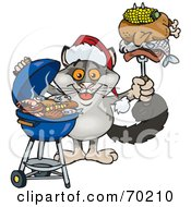Royalty Free RF Clipart Illustration Of A Grilling Possum Wearing A Santa Hat And Holding Food On A BBQ Fork
