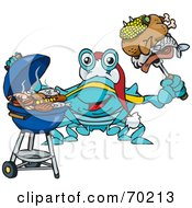 Royalty Free RF Clipart Illustration Of A Grilling Crab Wearing A Santa Hat And Holding Food On A BBQ Fork by Dennis Holmes Designs