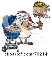 Royalty Free RF Clipart Illustration Of A Grilling Kookaburra Wearing A Santa Hat And Holding Food On A BBQ Fork