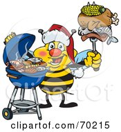 Royalty Free RF Clipart Illustration Of A Grilling Honey Bee Wearing A Santa Hat And Holding Food On A BBQ Fork by Dennis Holmes Designs