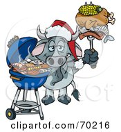 Royalty Free RF Clipart Illustration Of A Grilling Gary Bull Wearing A Santa Hat And Holding Food On A BBQ Fork