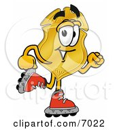 Badge Mascot Cartoon Character Roller Blading On Inline Skates