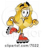Badge Mascot Cartoon Character Roller Blading On Inline Skates by Toons4Biz