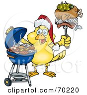 Royalty Free RF Clipart Illustration Of A Grilling Canary Wearing A Santa Hat And Holding Food On A BBQ Fork by Dennis Holmes Designs