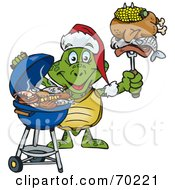 Royalty Free RF Clipart Illustration Of A Grilling Turtle Wearing A Santa Hat And Holding Food On A BBQ Fork by Dennis Holmes Designs