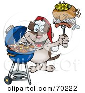 Royalty Free RF Clipart Illustration Of A Grilling Canine Wearing A Santa Hat And Holding Food On A BBQ Fork
