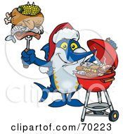 Royalty Free RF Clipart Illustration Of A Grilling Marlin Wearing A Santa Hat And Holding Food On A BBQ Fork by Dennis Holmes Designs