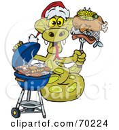 Royalty Free RF Clipart Illustration Of A Grilling Python Wearing A Santa Hat And Holding Food On A BBQ Fork