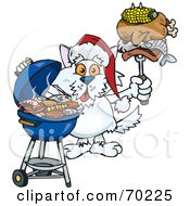 Royalty Free RF Clipart Illustration Of A Grilling Terrier Dog Wearing A Santa Hat And Holding Food On A BBQ Fork