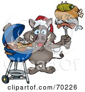 Royalty Free RF Clipart Illustration Of A Grilling Boar Wearing A Santa Hat And Holding Food On A BBQ Fork by Dennis Holmes Designs