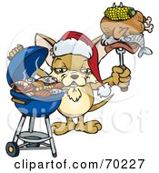 Royalty Free RF Clipart Illustration Of A Grilling Chihuahua Wearing A Santa Hat And Holding Food On A BBQ Fork