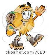 Badge Mascot Cartoon Character Hiking And Carrying A Backpack