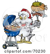 Royalty Free RF Clipart Illustration Of A Grilling Bream Fish Wearing A Santa Hat And Holding Food On A BBQ Fork by Dennis Holmes Designs