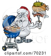 Royalty Free RF Clipart Illustration Of A Grilling Dugong Wearing A Santa Hat And Holding Food On A BBQ Fork