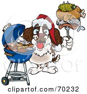 Royalty Free RF Clipart Illustration Of A Grilling Spaniel Wearing A Santa Hat And Holding Food On A BBQ Fork