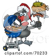 Royalty Free RF Clipart Illustration Of A Grilling Black Swan Wearing A Santa Hat And Holding Food On A BBQ Fork by Dennis Holmes Designs