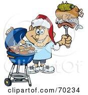 Royalty Free RF Clipart Illustration Of A Grilling Man Wearing A Santa Hat And Holding Food On A BBQ Fork Version 4