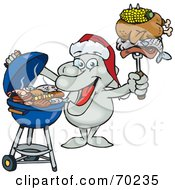 Royalty Free RF Clipart Illustration Of A Grilling Dolphin Wearing A Santa Hat And Holding Food On A BBQ Fork