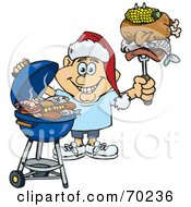 Royalty Free RF Clipart Illustration Of A Grilling Man Wearing A Santa Hat And Holding Food On A BBQ Fork Version 1